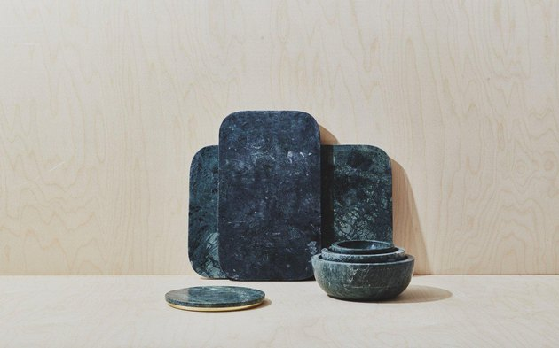 green marble serving collection