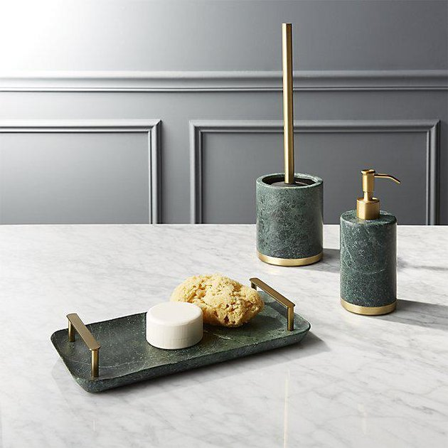 green marble bath accessories