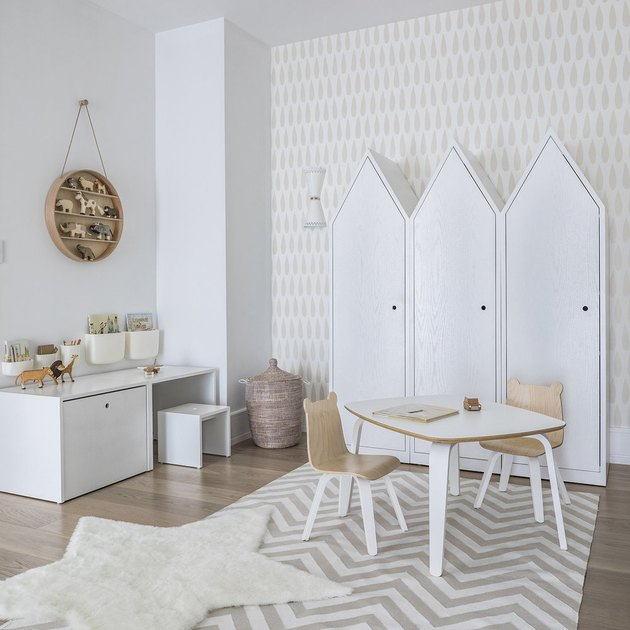 minimalist toy storage idea with house-shaped closets