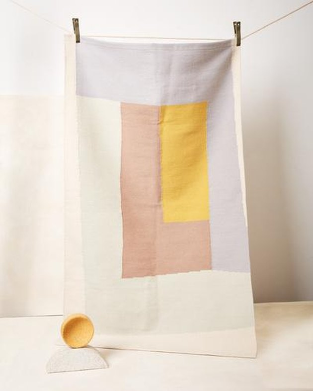 rug with rectangular pastel shapes