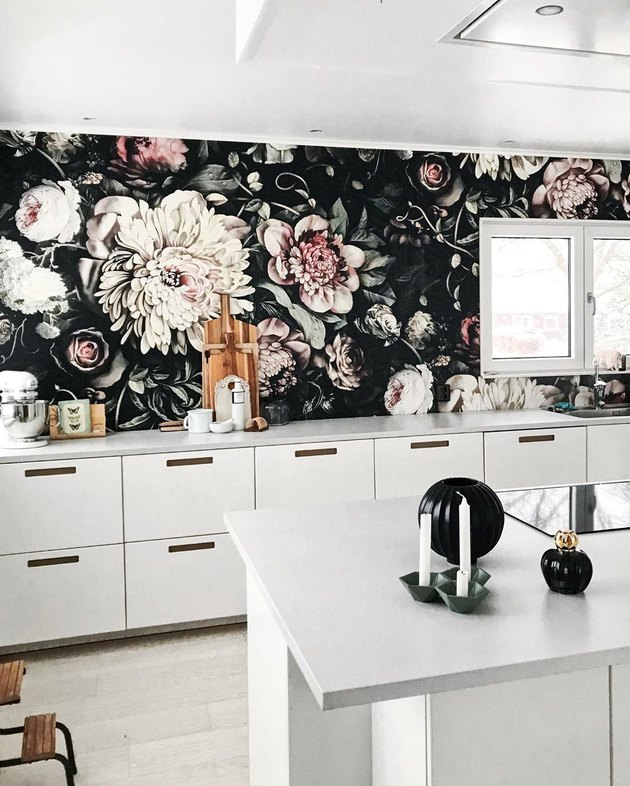 kitchen wallpaper idea with black floral print