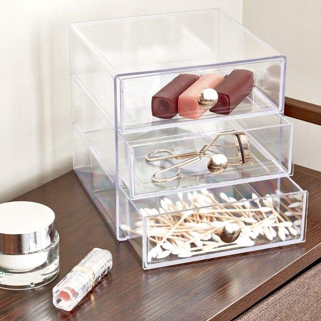 clear 3-drawer organizer