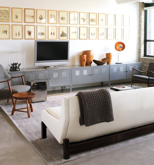 IKEA living room minimalist furniture with metal locker TV stand and white ou
