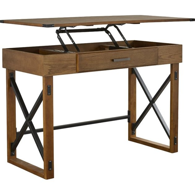 rustic wood adjustable standing desk