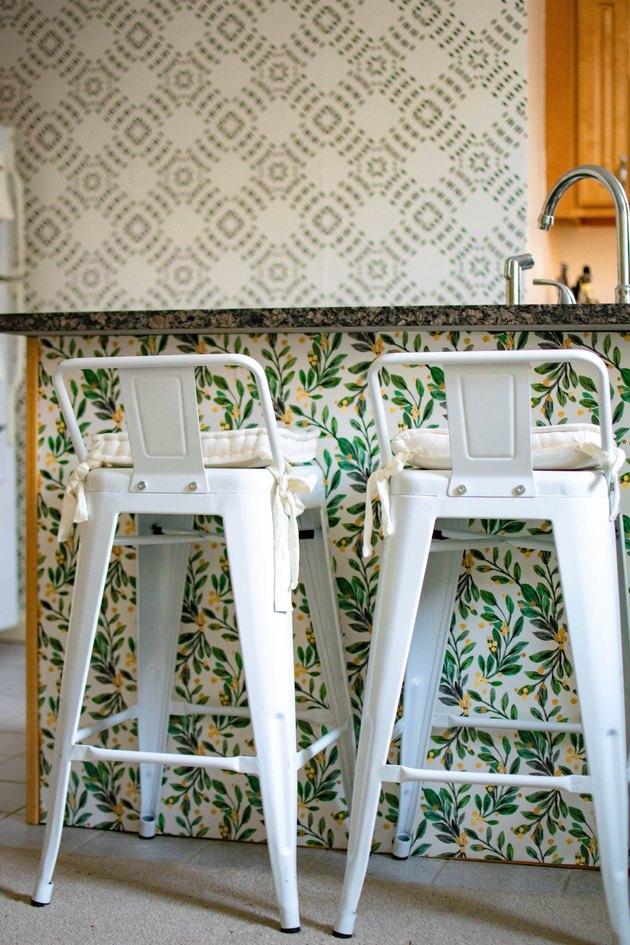 botanical kitchen wallpaper idea on island