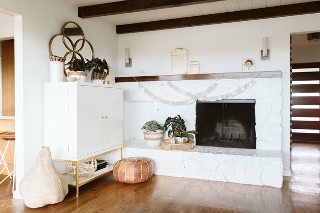 Fireplace in California Boho Home