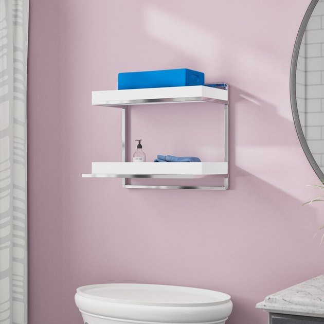 minimalist wall mounted bathroom shelves