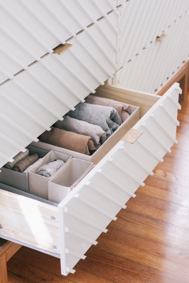 Drawer organized with Marie Kondo style boxes