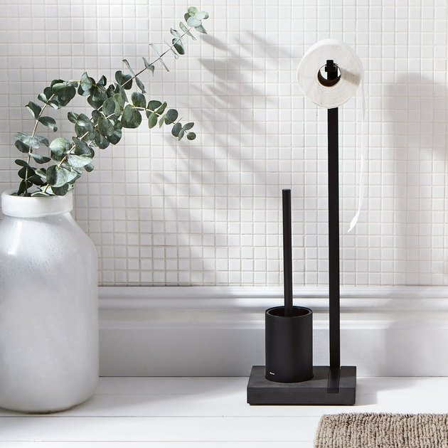 minimalist toilet paper holder and toilet brush