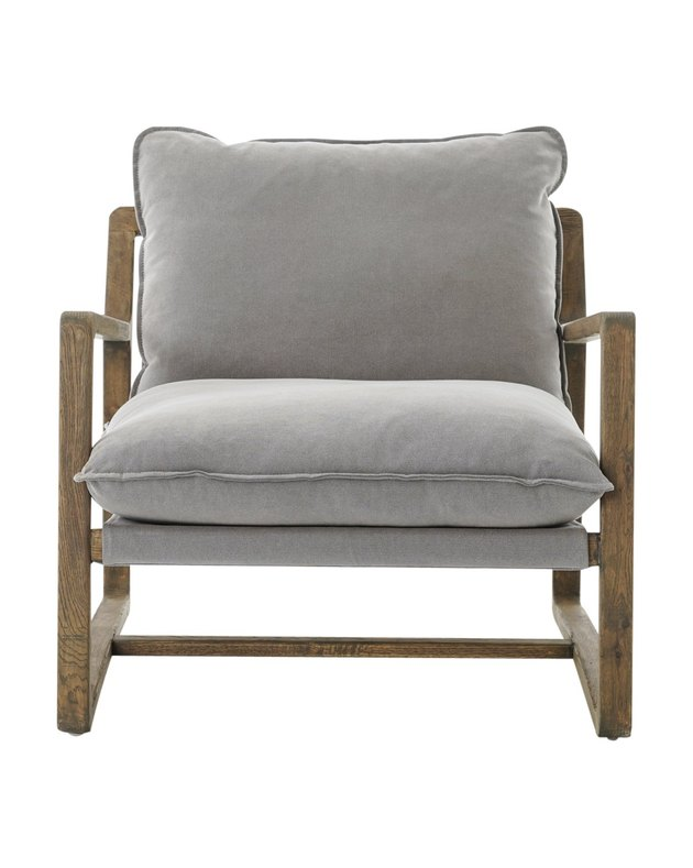 Modern upholstered chair with wood frame