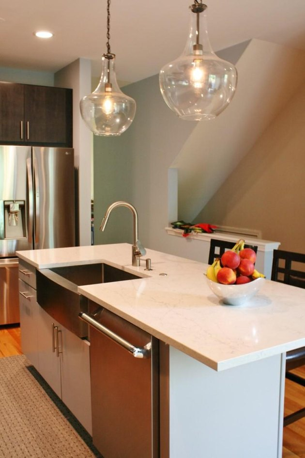 Kitchen island with quartz countertop.