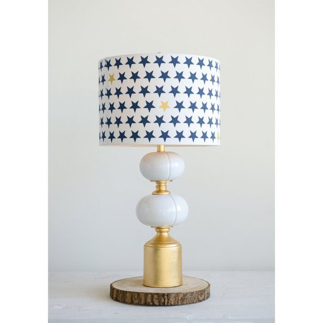 brushed gold ceramic and metal table lamp