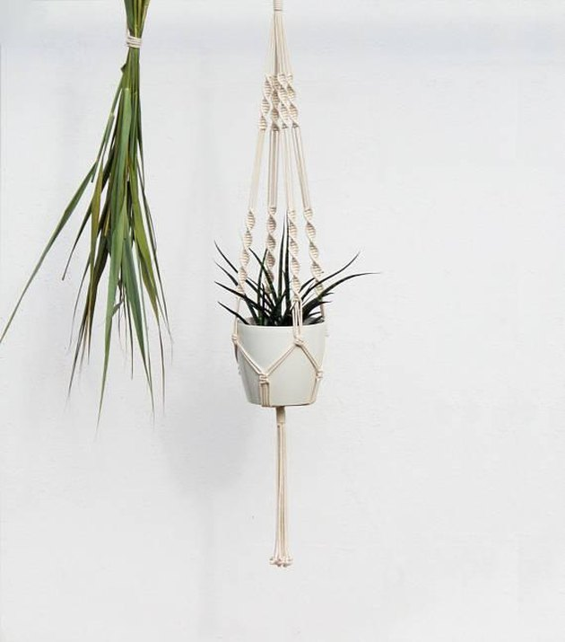 White macrame hanging planter