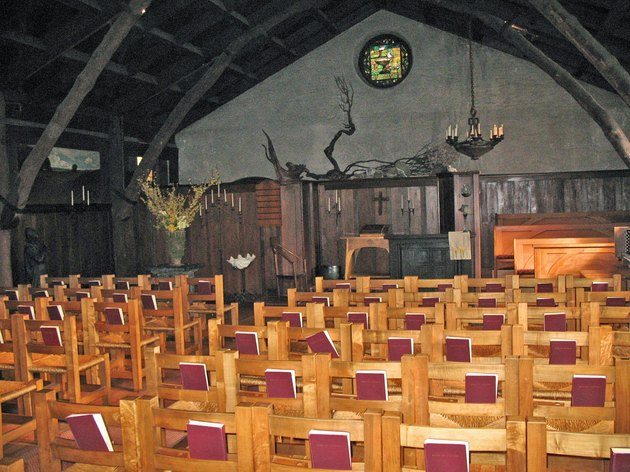interior of church with wooden chairs