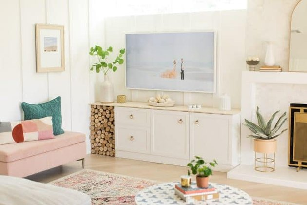 basement family room ideas with creative storage options and pink bench