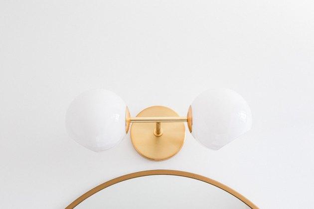 close up of decorative bathroom lights