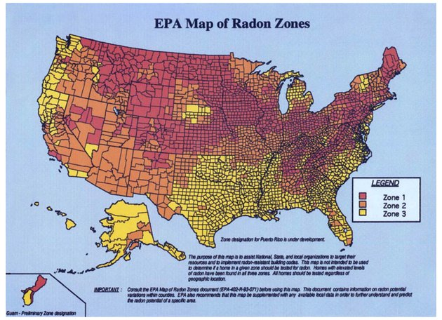 EPA map of radon concentration zones.