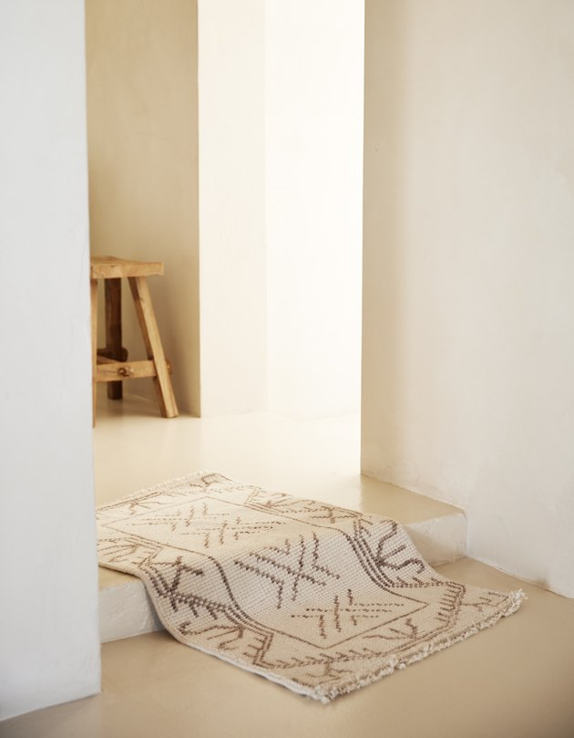 patterned rug in hallway