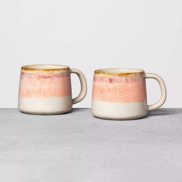 two ombre mugs in white and pink tones