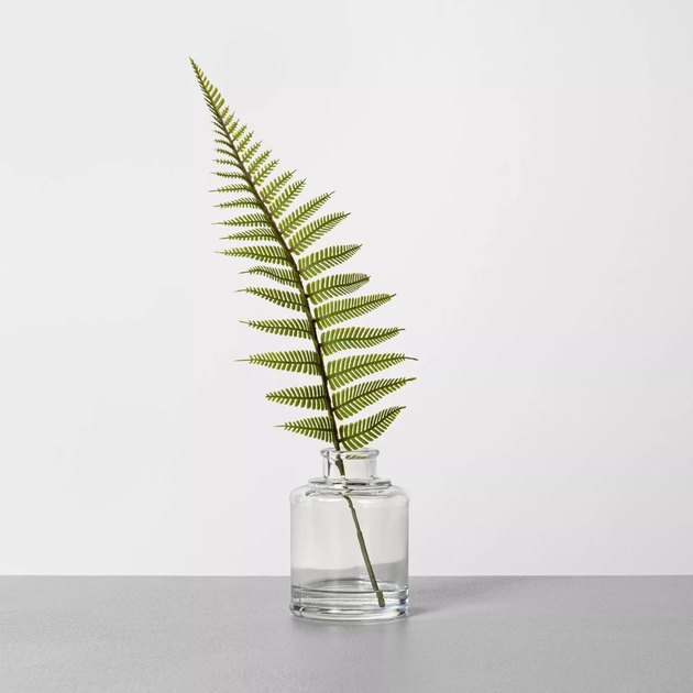 faux fern in a glass vase