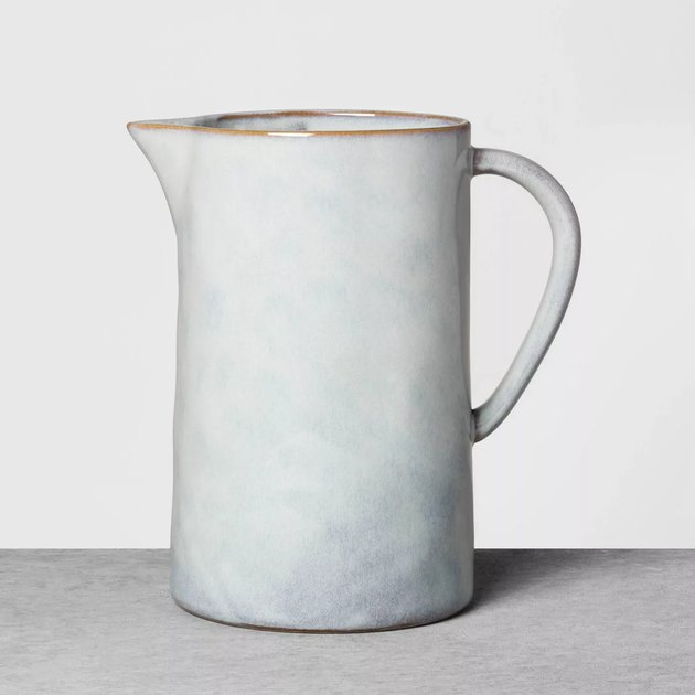 stoneware pitcher in off-white color