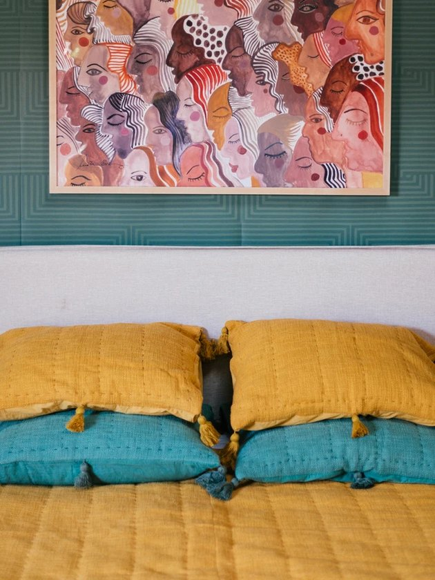 yellow and teal pillows
