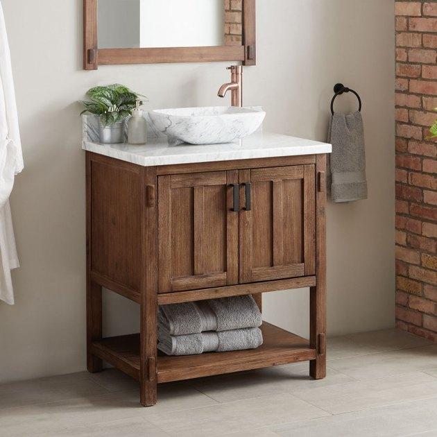Wood and marble country bathroom vanity in modern bathroom