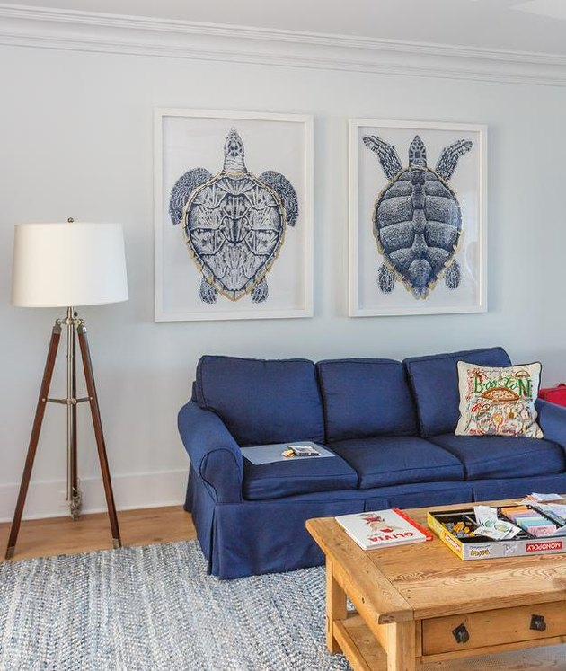 family room wall ideas with blue sea turtle artwork