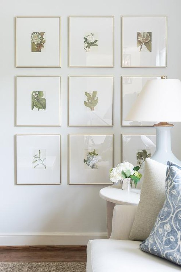 family room wall ideas with botanical prints
