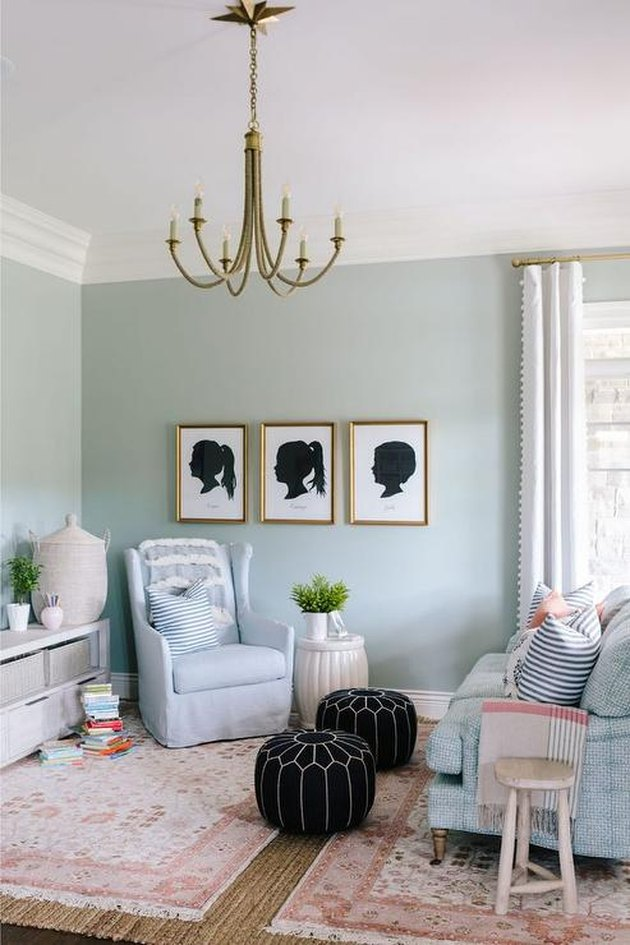 family room wall ideas with silhouette portraits