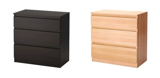 one black three-drawer dress and one wood three-drawer dresser
