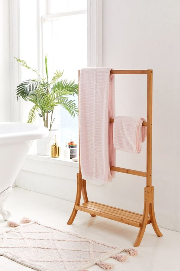 small bathroom storage ideas with bamboo wood towel rack