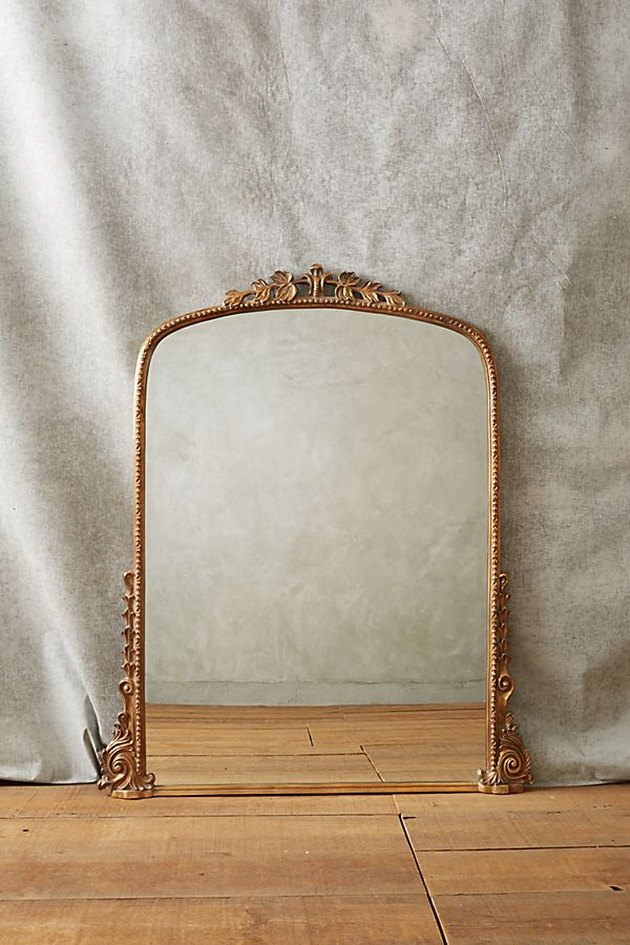 Rectangular wall mirror with arched top and aged-brass border featuring botanical accents