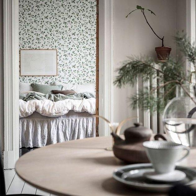 Scandinavian farmhouse bedroom/dining room