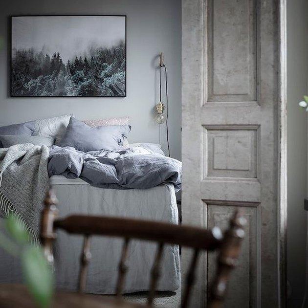 Scandinavian farmhouse style bedroom with grayish blue palette