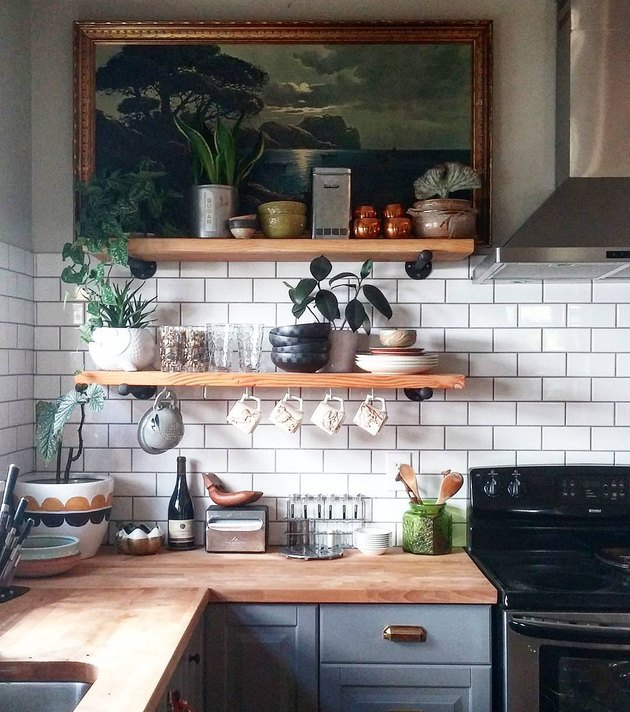 kitchen wall decor with vintage painting