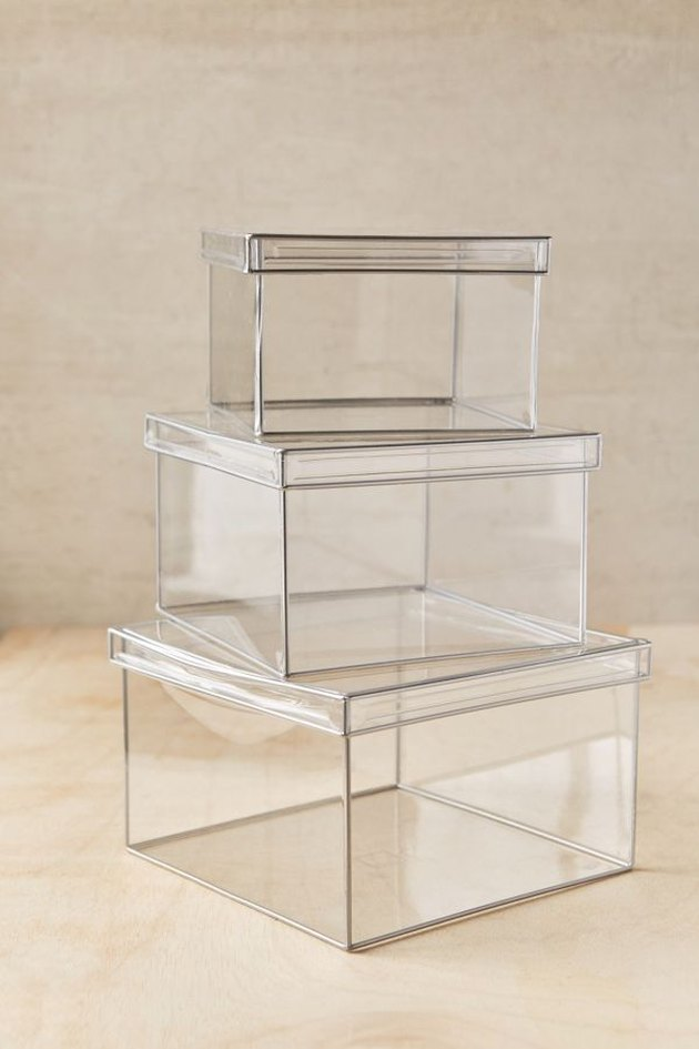 small bathroom storage ideas with  acrylic storage boxes