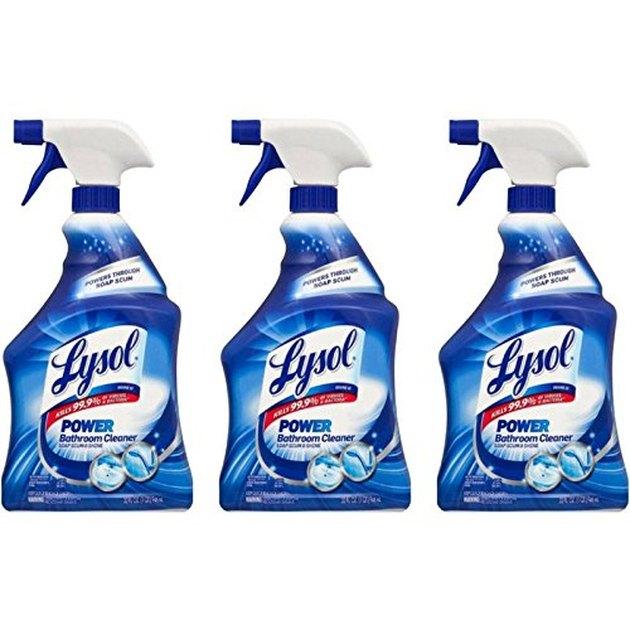 three blue bottles of lysol