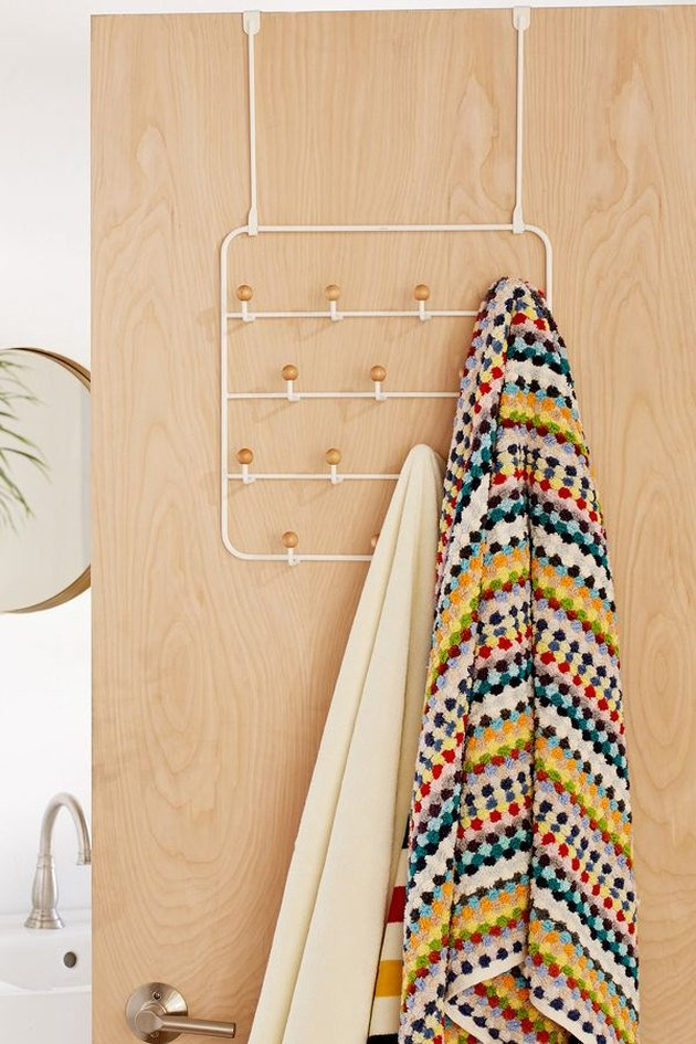 small bathroom storage ideas with  over-the-door multi-hook storage