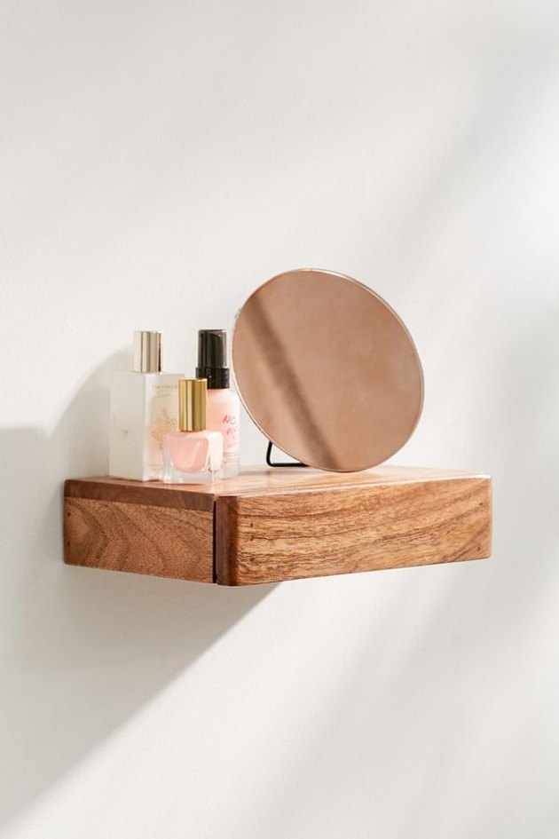 small bathroom storage ideas with  wooden floating wall shelf