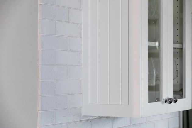 close up of white cabinet