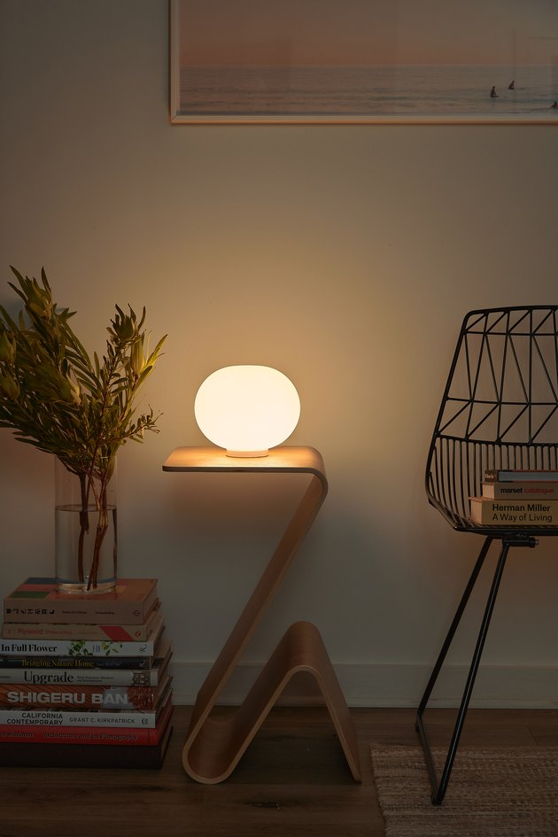 Minimalist lighting orb table lamp in nook