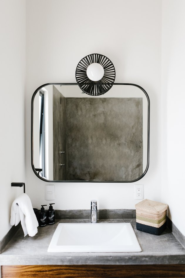 Modern bathroom sink and mirror.