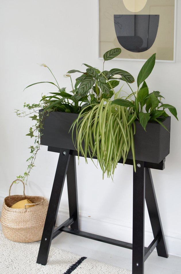 ikea hack of the IKEA Oddvald trestle turned into a black plant stand