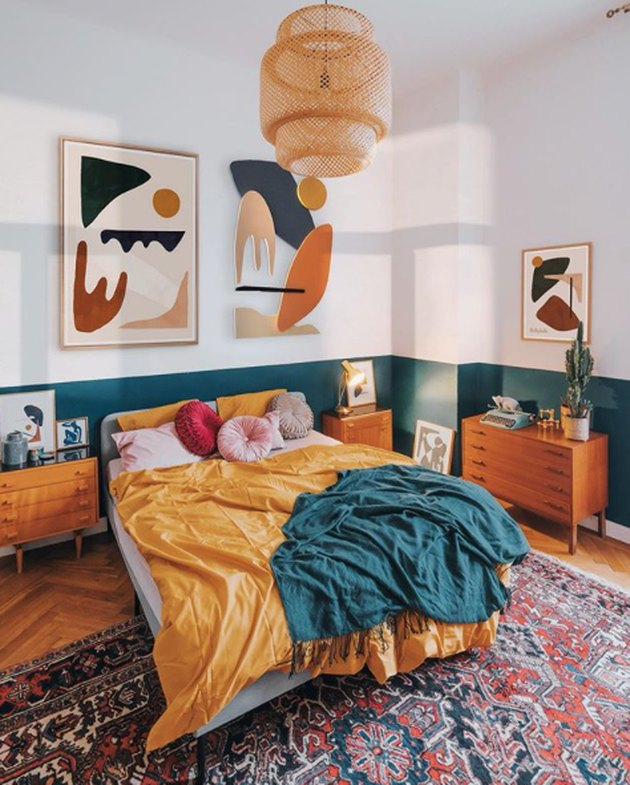 bohemian teal bedroom idea with color blocking on walls