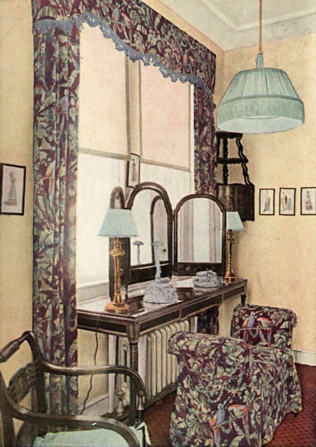 interior with patterned seating and curtains