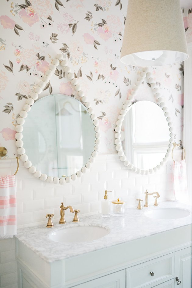 bathroom wallpaper idea with floral print