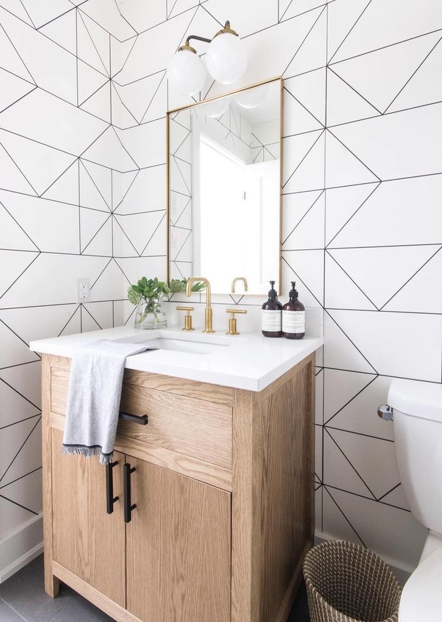 bathroom wallpaper idea minimal bathroom