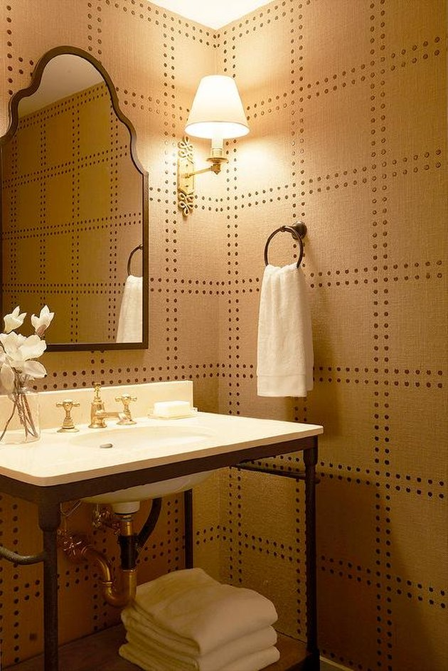 geometric modern wallpaper in bathroom with open vanity