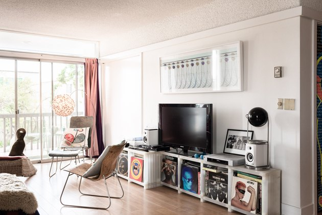 Family room with record storage, TV, and modern furniture